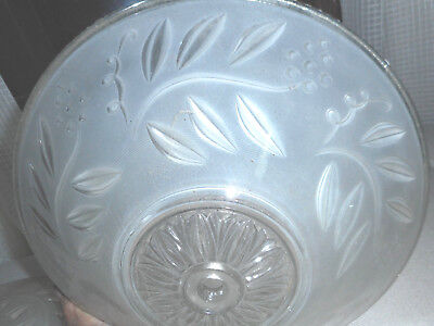 """Vintage light fixture glass shade 12"""" Art Deco Frosted center hole 2 matching"""