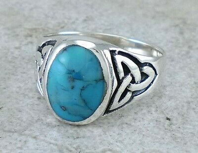 MENS .925 STERLING SILVER CELTIC TURQUOISE RING size 11 style# r2673
