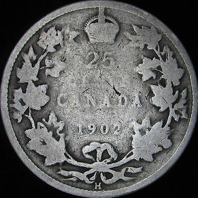 1902-H Good Canada Silver 25 Cents - KM# 11 - JG