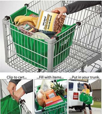 2 x Reusable Supermarket Shopping Trolley Clip-on Large Foldable Grab Handle Bag