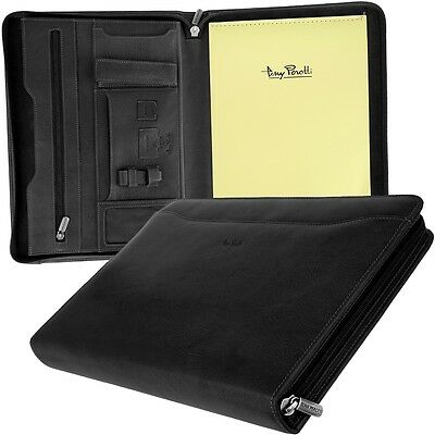 Tony Perotty A4 Zip Writing Case, Leather Black Files Conference Workbook