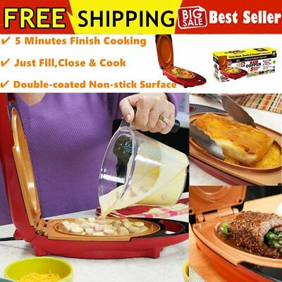 Red Copper Pan Double-Coated Smokeless Non-stick 5 Minute Chef Electric Cooker##