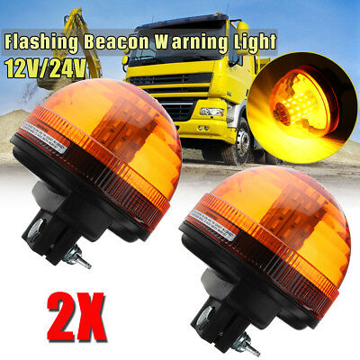 2X 40 LED Rotating Flashing Amber Beacon DIN Pole Tractor Warning Light 12V/24V