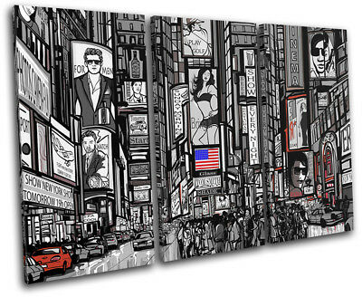 New York Times Square Illustration City TREBLE CANVAS WALL ART Picture Print