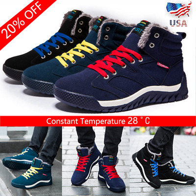Men's Plush Winter Snow Boots Outdoor Casual Shoes Lace Up Warm Boots Size10.5