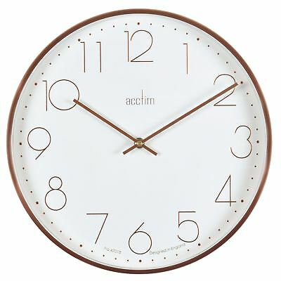Thea White Dial & Copper Effect Brushed Metal Wall Clock 35cm by Acctim