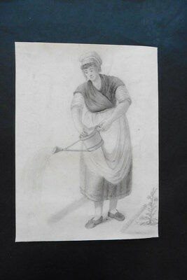 DUTCH SCHOOL 19thC - GENRE SCENE - MAID IN A GARDEN - PENCIL