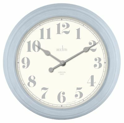'Chester' Design Vintage Style Wall Clock In Clear Day Blue Case 35cm by Acctim