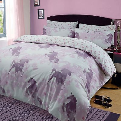 Unicorn Dreams Single Duvet Cover Set Bedding Kids Childrens - 2 Designs In 1