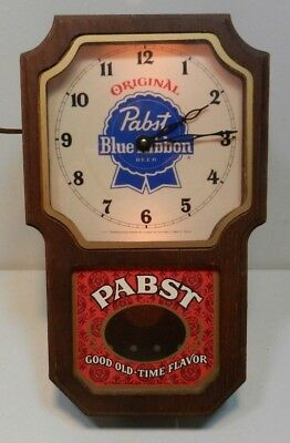 Pabst Blue Ribbon Lighted Wall Clock Vintage PBR Bar Advertising Pendulum