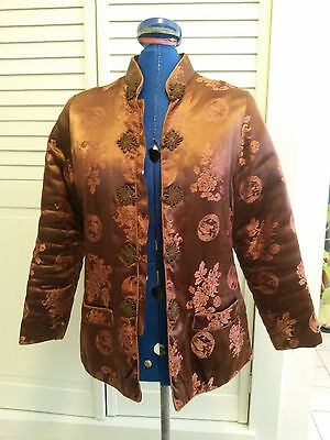 Vintage Asian Chinese jacket brown dragon floral design  x small 4 quilted coat