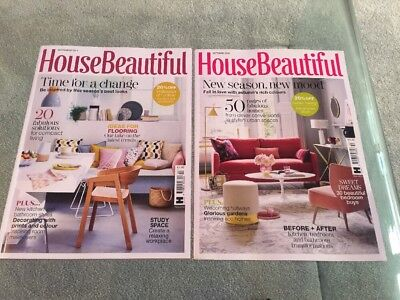 House Beautiful Magazine X 2 - September 2018 & August 2018