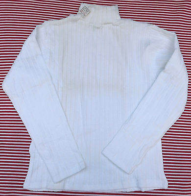 Vintage 1960s skinny rib sweater UNUSED boy girl Polo neck Age 12 cotton/nylon