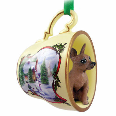 Mini Pinscher Christmas Teacup Ornament Red/Brown