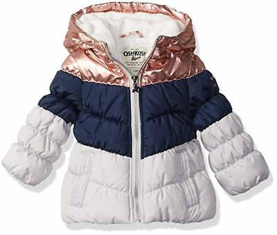 Osh Kosh B'gosh Girls Navy & Gray Puffer Jacket Size 2T 3T 4T 4 5/6 6X