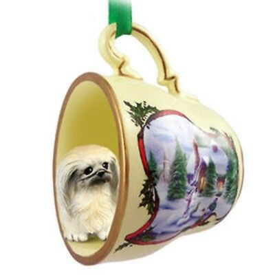 Pekingese Christmas Teacup Ornament