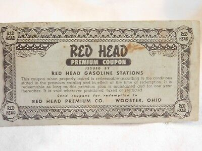 OLD coupon,Red Head Premium Coupon,Gasoline,Wooster Ohio