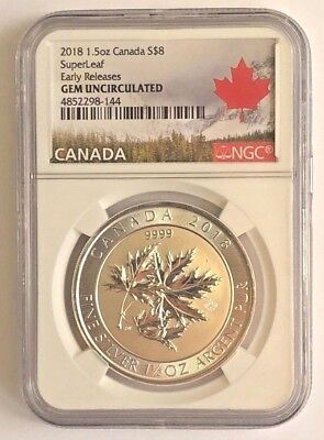 2018 $8 Silver Canadian Maple Leaf 1.5 oz .9999 fine RCM SuperLeaf NGC GEM UNC