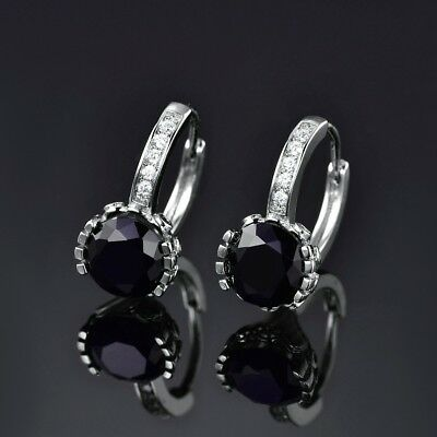 Classic Women Black Round Sapphire Crystal Silver Leverback Earrings Jewelry