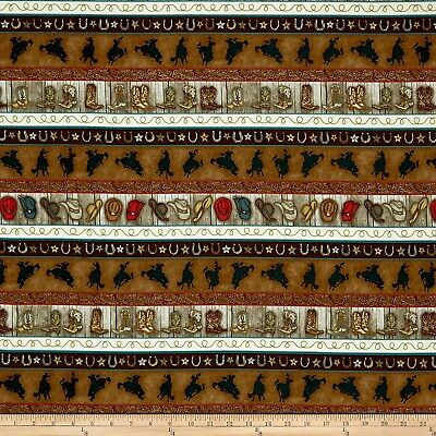 """Cowboy Bronco Country Western Cotton Fabric Henry Glass Rodeo Roundup 24/"""" Panel"""