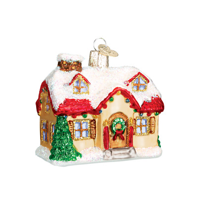 """""""Holiday Home"""" (20032)X Old World Christmas Glass Ornament w/ OWC Box"""