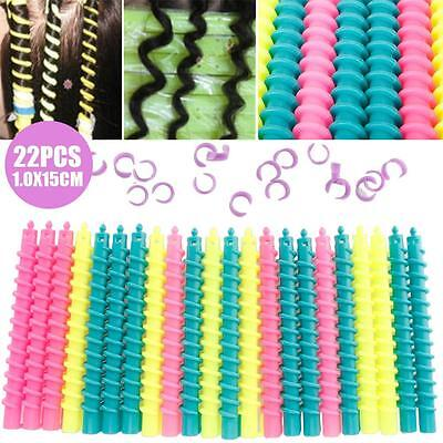 22Pcs Large Styling Plastic Barber Hairdressing Spiral Hair Perm Rod ba#us