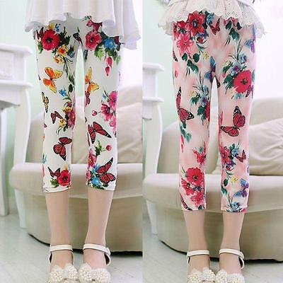 Girls Floral Butterfly Skinny Leggings Casual Kid's Stretchy Pants Trousers LG