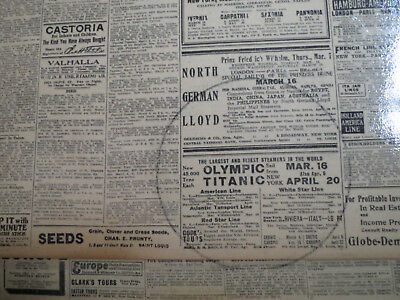Titanic Sailing Ad 1912 NEW OLYMPIC SHIP WHITE STAR LARGEST STEAMERS IN WORLD