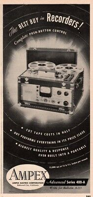 1952 AMPEX Electric Redwood City CA Reel To Reel Tape Recorder Push Button Ad