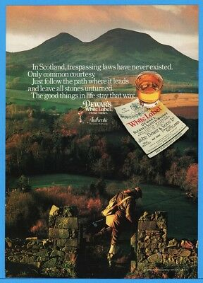 1986 Dewars White Label Whisky Scotland Trespassing Law Never Existed Fishing Ad