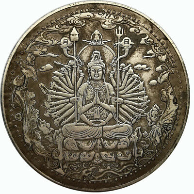 42mm China Big Fengshui Buddha Good Luck Coin Collection Mascot