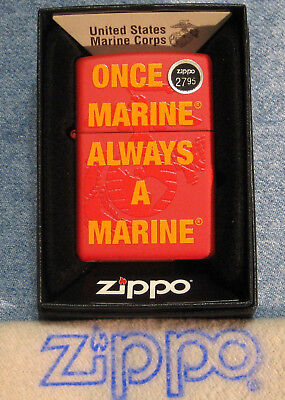 ZIPPO  MILITARY CORP lighter ONCE A MARINE ALWAYS A MARINE Mint in Box NEW 29387