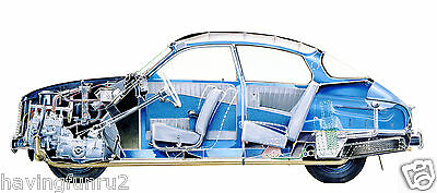 1961 Saab 96 Cut A Way Color Illustration  11 x 13 Giclee Print