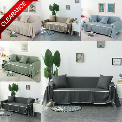 1/2/3/4 Seater Cotton Blend Slipcover Sofa Cover Couch Covers Protector Loveseat