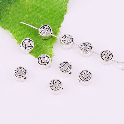 6-8mm Tibetan Silver Flat Spacer Beads Metal Loose Round Charm Jewelry Finding
