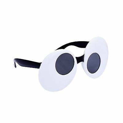 GOOGLY EYES SUN STACHES SUNGLASSES Cartoon White Clout Clown Adult Glasses Funny