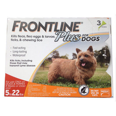 FRONTLINE Frontline Plus Flea&Tick Control for 5-22-Pound Dogs&Puppies 3 Doses