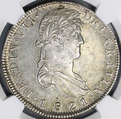1821-Zs NGC AU 58 War Independence Mexico 8 Reales Silver Coin (18090106C)