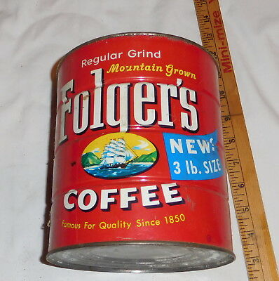 vintage Folger's Coffee Mountain Grown Regular Grind EMPTY Tin can 3 LB size