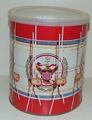 1976 Folgers Tin Coffee Can America Bicentennial Patriotic Tin Drum Eagle