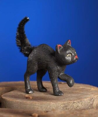 Bethany Lowe Halloween Little Scaredy Cat Black Cat Chenille Tail Decoration