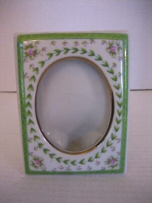 Vintage Lefton China Hand Painted Floral White/Green Single Picture Frame 1997