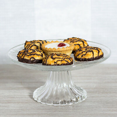Round Glass Cake Stand 20cm Small Serving Display Plate Cheese Dessert Cupcake