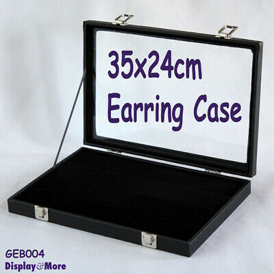 EARRING Case Display Box   Reliable GLASS Lid   4 Tiers   AUSSIE Seller