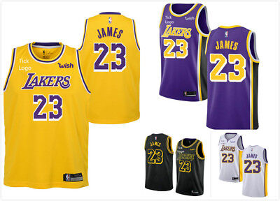 NEW 2019 LeBron James LA LAKERS Basketball Jersey NBA Purple White Black Gold
