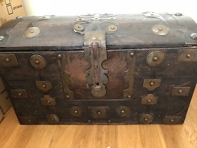Moroccan Antique chest with metal framing in a perfect condition