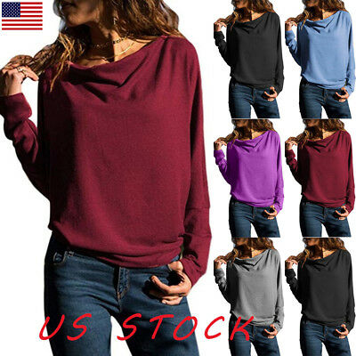 US Womens Casual Long Sleeve Tops Batwing Loose Solid Jumpers Ladies T Shirt New