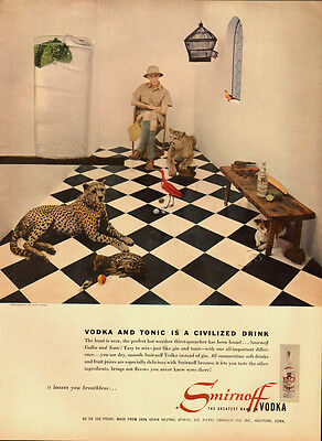 1954 Vintage ad for Smirnoff Vodka`Hunter`Leopard`Tile Floor (022414)