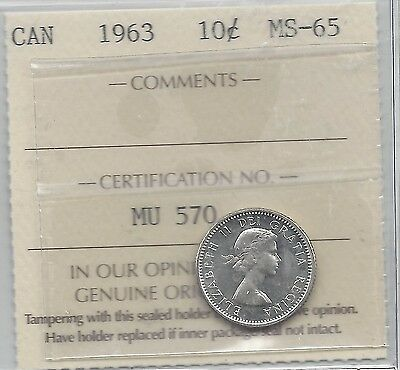 **1963**, ICCS  Graded Canadian,  10  Cent, **MS-65**