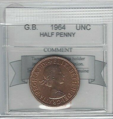 **1964**Great Britain, Half Penny, Coin Mart Graded **UNC**